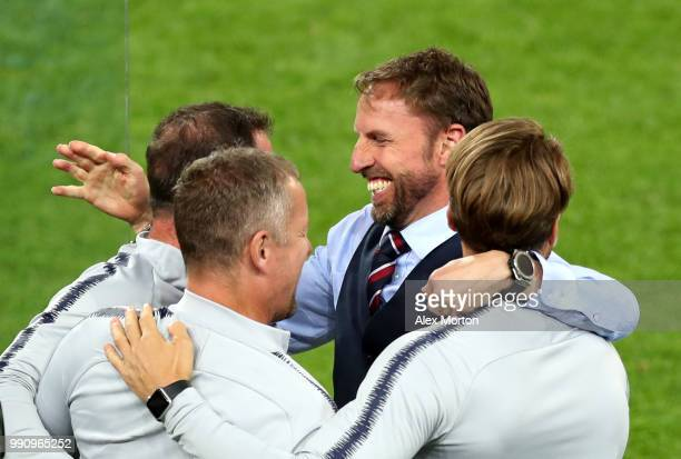 Gareth Southgate Manager of England celebrates following his sides victory in a penalty shoot out during the 2018 FIFA World Cup Russia Round of 16...