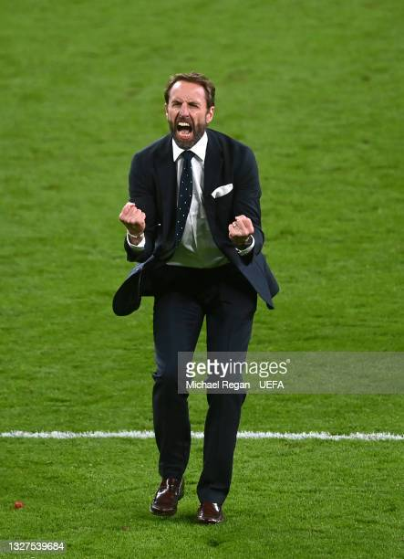Gareth Southgate, Manager of England celebrates following the UEFA Euro 2020 Championship Semi-final match between England and Denmark at Wembley...