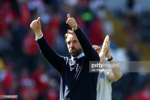 Gareth Southgate manager of England celebrates following victory in the UEFA Nations League Third Place Playoff match between Switzerland and England...