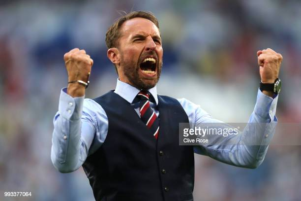 Gareth Southgate Manager of England celebrates following victory during the 2018 FIFA World Cup Russia Quarter Final match between Sweden and England...