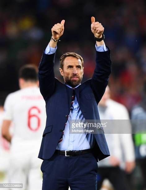 Gareth Southgate, Manager of England celebrates victory after the UEFA Nations League A Group Four match between Spain and England at Estadio Benito...
