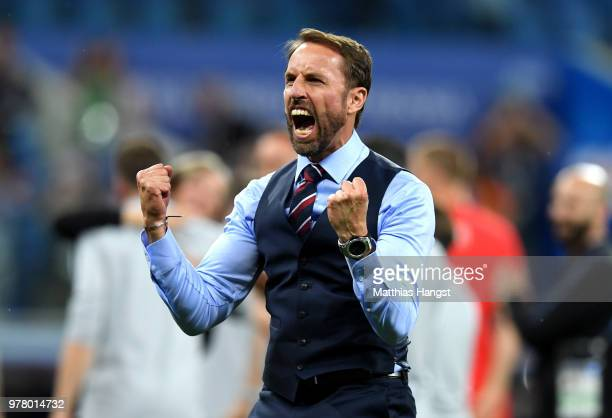 Gareth Southgate Manager of England celebrates victory following the 2018 FIFA World Cup Russia group G match between Tunisia and England at...