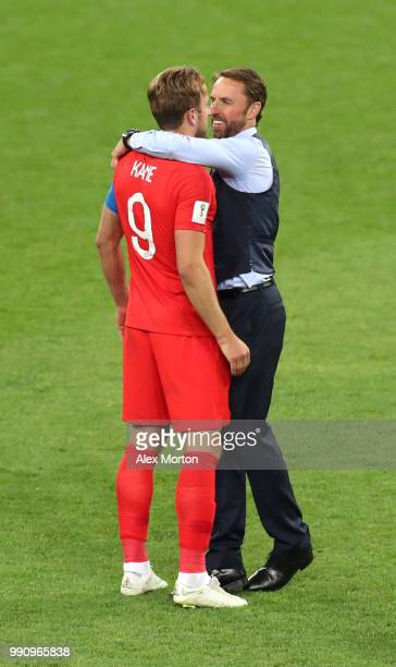 Gareth Southgate Manager of England celebrates victorywith Harry Kane following the 2018 FIFA World Cup Russia Round of 16 match between Colombia and...