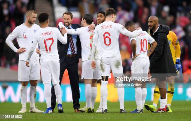 Gareth Southgate Manager of England celebrates with his team following their victory in the UEFA Nations League A group four match between England...