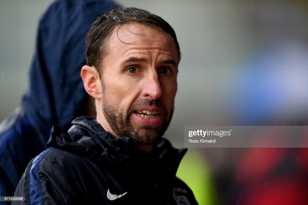 Gareth Southgate, manager of England during the England traning session at St Georges Park on November 7, 2017 in Burton-upon-Trent, England.