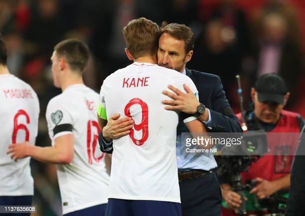 Gareth Southgate manager of England embraces Harry Kane after the 2020 UEFA European Championships Group A qualifying match between England and Czech...