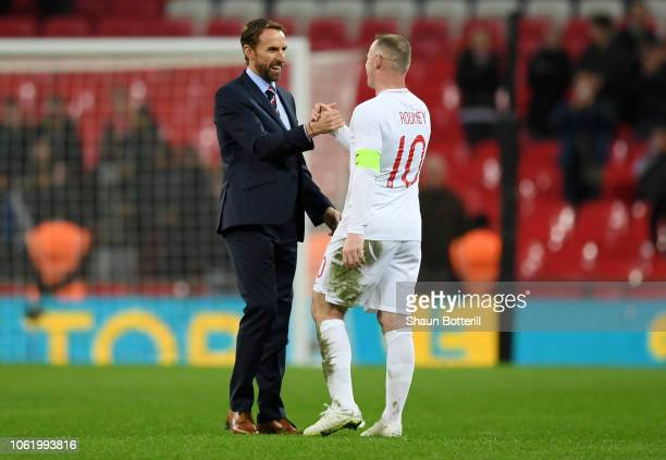 Gareth Southgate Manager of England embraces Wayne Rooney of England after the International Friendly match between England and United States at...
