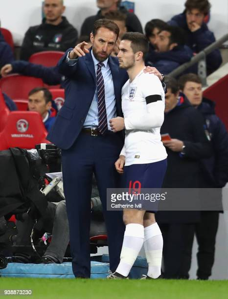Gareth Southgate Manager of England gives instruction to Lewis Cook of England during the International friendly between England and Italy at Wembley...