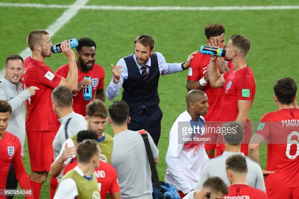 Gareth Southgate Manager of England instructs players before extra time during the 2018 FIFA World Cup Russia Round of 16 match between Colombia and...