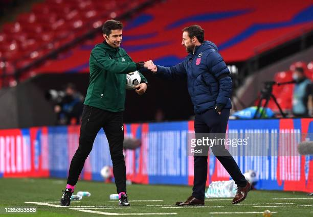 Gareth Southgate, Manager of England interacts with the fourth officials during the international friendly match between England and the Republic of...