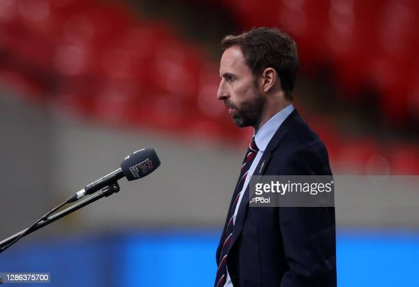 Gareth Southgate, Manager of England is interviewed prior to the UEFA Nations League group stage match between England and Iceland at Wembley Stadium...