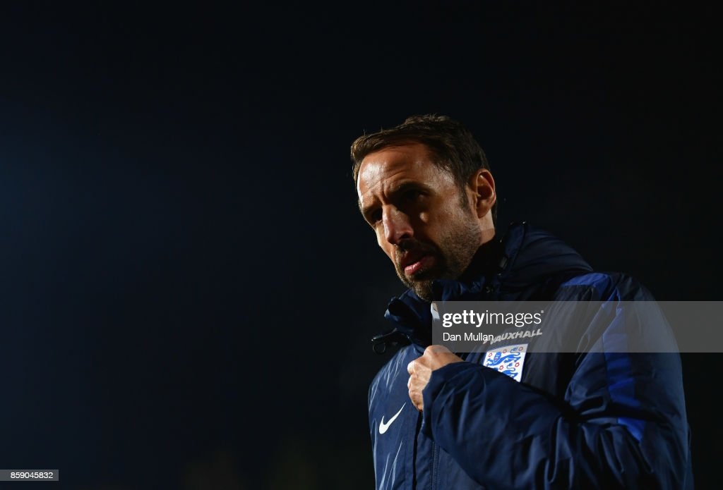 Gareth Southgate manager of England looks on after the FIFA 2018 World Cup Group F Qualifier between Lithuania and England at LFF Stadium on October 8, 2017 in Vilnius, Lithuania.