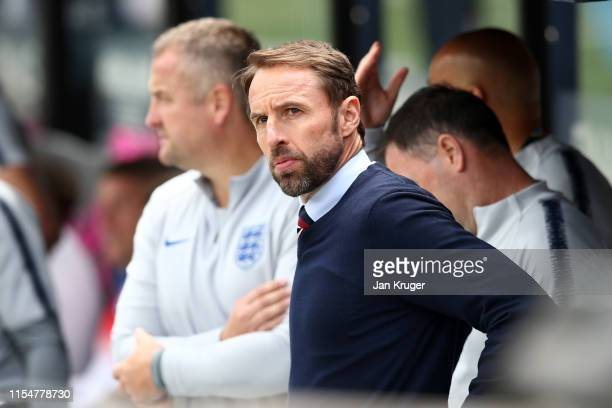 Gareth Southgate manager of England looks on ahead of the UEFA Nations League Third Place Playoff match between Switzerland and England at Estadio D...