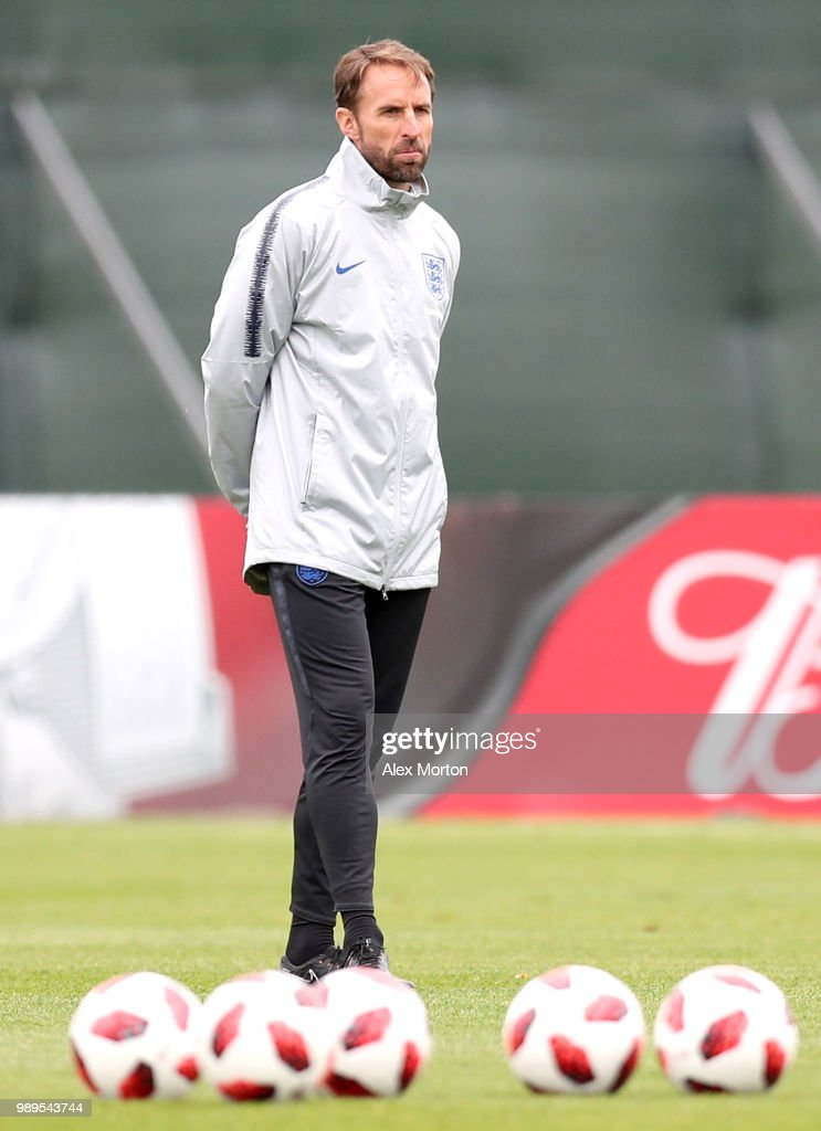 Gareth Southgate, Manager of England looks on as his team train during the England training session at the Stadium Spartak Zelenogorsk on July 2, 2018 in Saint Petersburg, Russia.