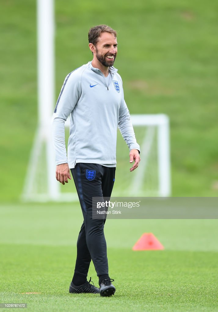 Gareth Southgate, manager of England looks on during a training session at St Georges Park on September 9, 2018 in Burton-upon-Trent, England.