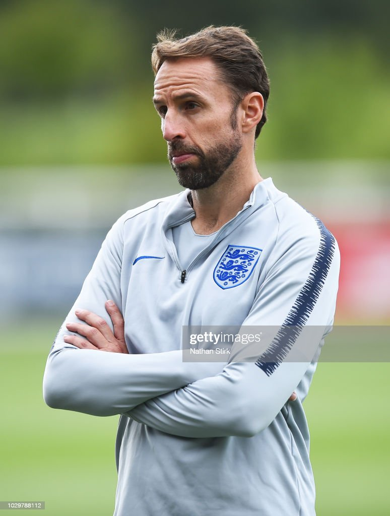 Gareth Southgate manager of England looks on during a training session at St Georges Park on September 9, 2018 in Burton-upon-Trent, England.