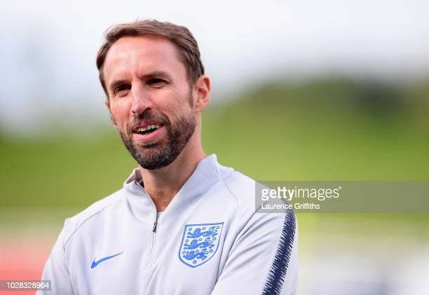 Gareth Southgate Manager of England looks on during an England training session at St Georges Park on September 7 2018 in BurtonuponTrent England