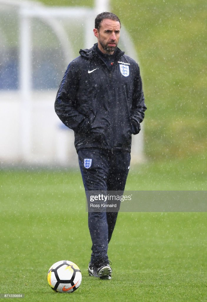 Gareth Southgate, manager of England looks on during an England training session at St Georges Park on November 7, 2017 in Burton-upon-Trent, England.