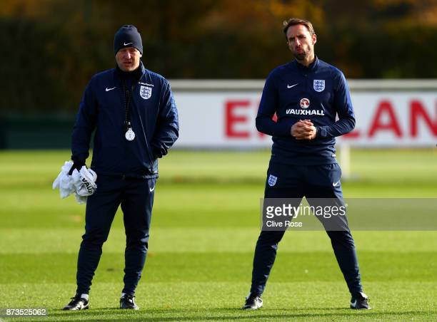 Gareth Southgate Manager of England looks on during an England training session ahead of the International Friendly match between England and Brazil...