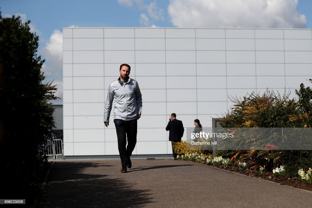 Gareth Southgate manager of England looks on during an England training session, on the eve of their international friendly against Italy at Tottenham Hotspur Training Centre, on March 26, 2018 in Enfield, England.