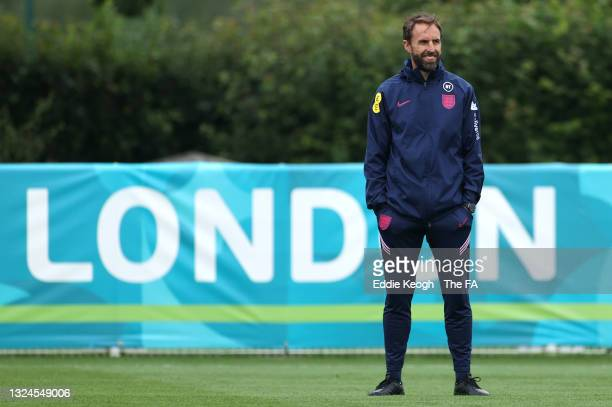 Gareth Southgate, Manager of England looks on during the England Training Session at Tottenham Hotspur Training Ground on June 20, 2021 in Burton...