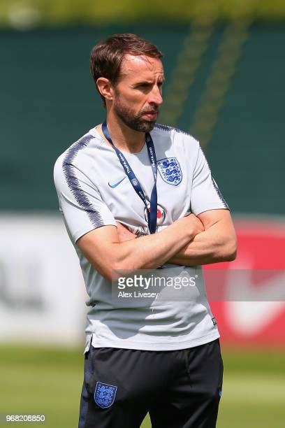 Gareth Southgate Manager of England looks on during the England training session at St Georges Park on June 6 2018 in BurtonuponTrent England