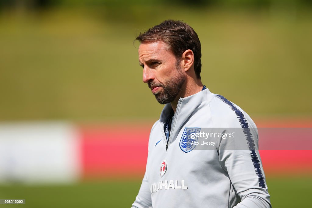 Gareth Southgate Manager of England looks on during the England training session at St Georges Park on June 6, 2018 in Burton-upon-Trent, England.