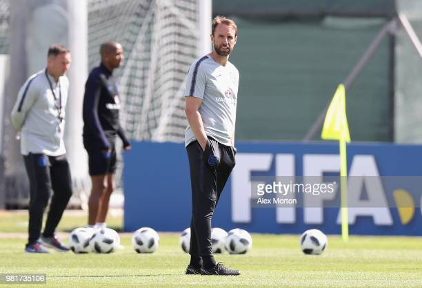 Gareth Southgate Manager of England looks on during the England Training session on June 23 2018 in Saint Petersburg Russia