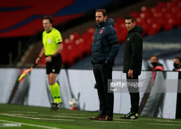Gareth Southgate, Manager of England looks on during the UEFA Nations League group stage match between England and Iceland at Wembley Stadium on...