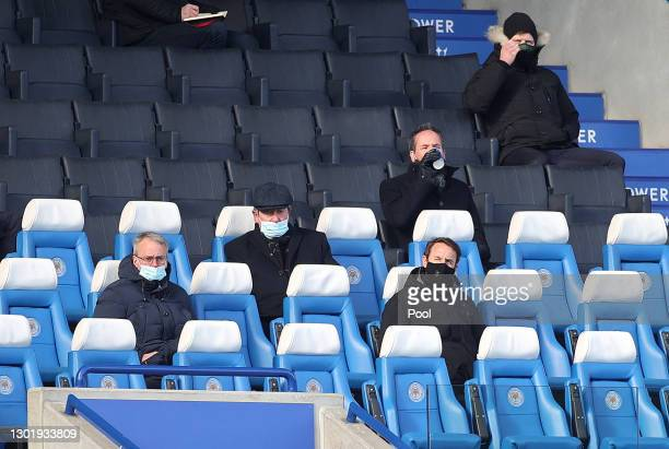 Gareth Southgate, Manager of England looks on from the stands during the Premier League match between Leicester City and Liverpool at The King Power...