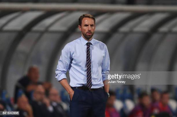 Gareth Southgate manager of England looks on from the touchline during the FIFA 2018 World Cup Qualifier between Malta and England at Ta'Qali...