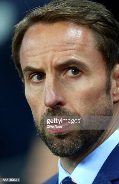Gareth Southgate manager of England looks on prior to the FIFA 2018 World Cup Group F Qualifier between England and Slovenia at Wembley Stadium on...