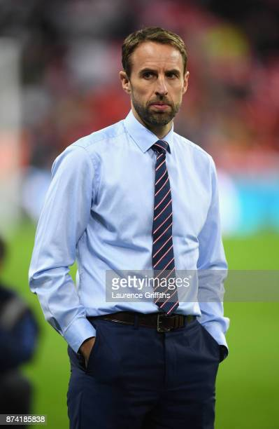 Gareth Southgate Manager of England looks on prior to the international friendly match between England and Brazil at Wembley Stadium on November 14...