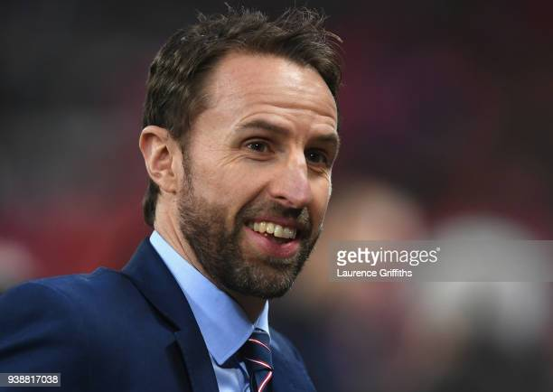 Gareth Southgate manager of England looks on prior to the International friendly between England and Italy at Wembley Stadium on March 27 2018 in...