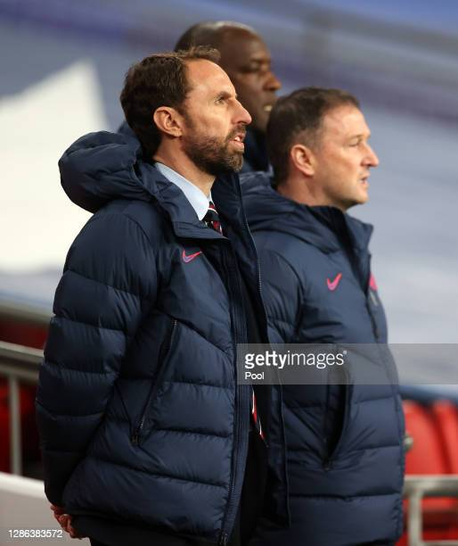Gareth Southgate, Manager of England looks on prior to the UEFA Nations League group stage match between England and Iceland at Wembley Stadium on...