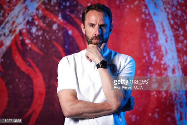 Gareth Southgate, Manager of England poses during the official UEFA Euro 2020 media access day at St George's Park Futsal Arena on June 08, 2021 in...