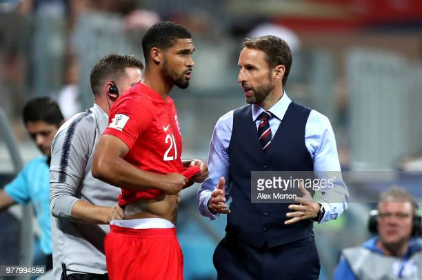 Gareth Southgate Manager of England prepares Ruben LoftusCheek of England to be substituted on during the 2018 FIFA World Cup Russia group G match...