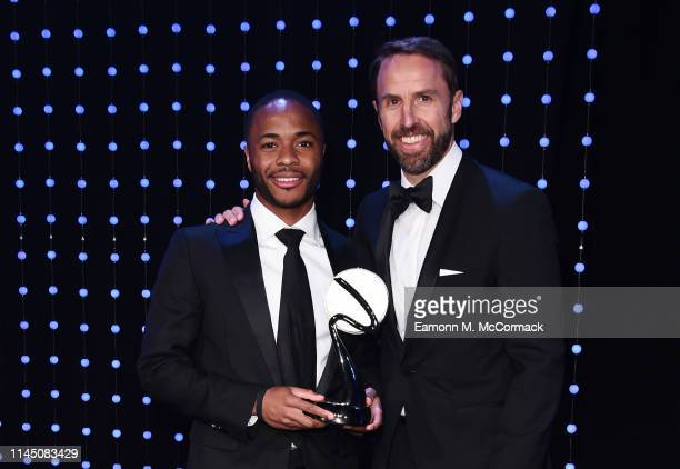 Gareth Southgate Manager of England presents The Integrity and Impact Award founded by Dow Jones Intelligence to Raheem Sterling during the BT Sport...