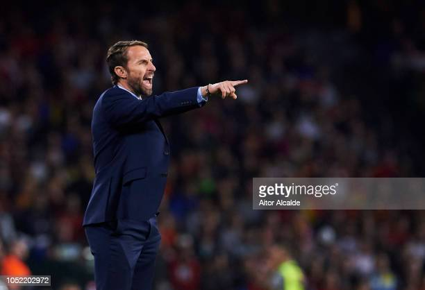 Gareth Southgate Manager of England reacts during the UEFA Nations League A Group Four match between Spain and England at Estadio Benito Villamarin...