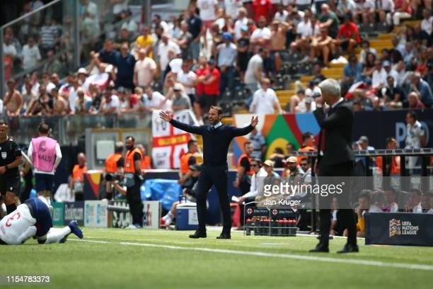Gareth Southgate manager of England reacts during the UEFA Nations League Third Place Playoff match between Switzerland and England at Estadio D...