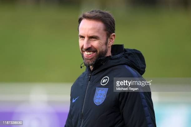 Gareth Southgate Manager of England smiles during an England Media Access Day at St Georges Park on November 13 2019 in BurtonuponTrent England