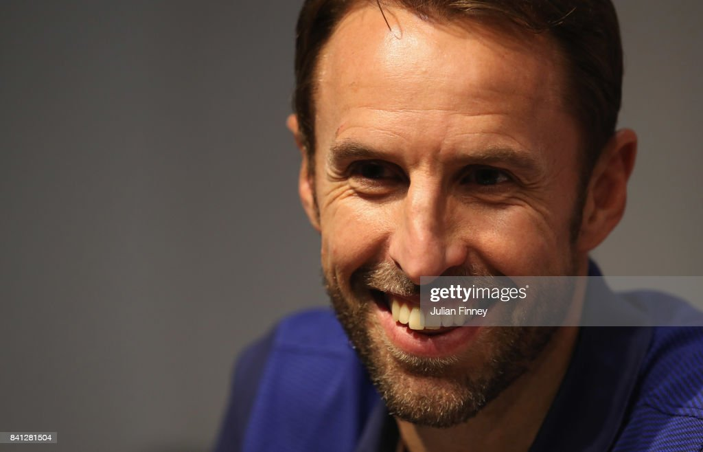 Gareth Southgate manager of England smiles during an England press conference on the eve of the World Cup qualifying match against Malta at Ta'Qali National Stadium on August 31, 2017 in Valletta, Malta.