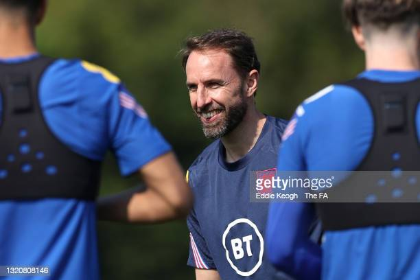Gareth Southgate, manager of England smiles during an England Training Session as part of the England Pre-Euro 2020 Training Camp on May 29, 2021 in...