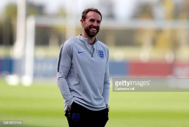 Gareth Southgate Manager of England smiles during the England Training Session at St Georges Park on October 11 2018 in BurtonuponTrent England