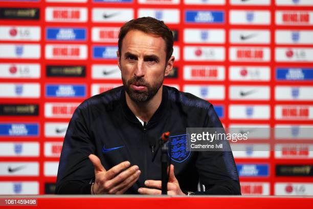 Gareth Southgate manager of England speaks during an England press conference at Wembley Stadium on November 14 2018 in London England