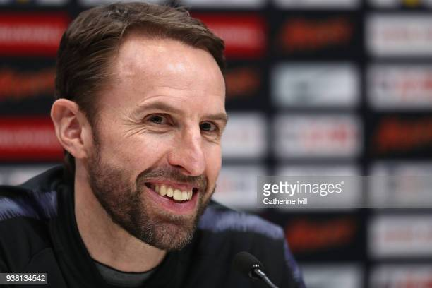 Gareth Southgate manager of England speaks during an England press conference on the eve of their international friendly against Italy at Tottenham...