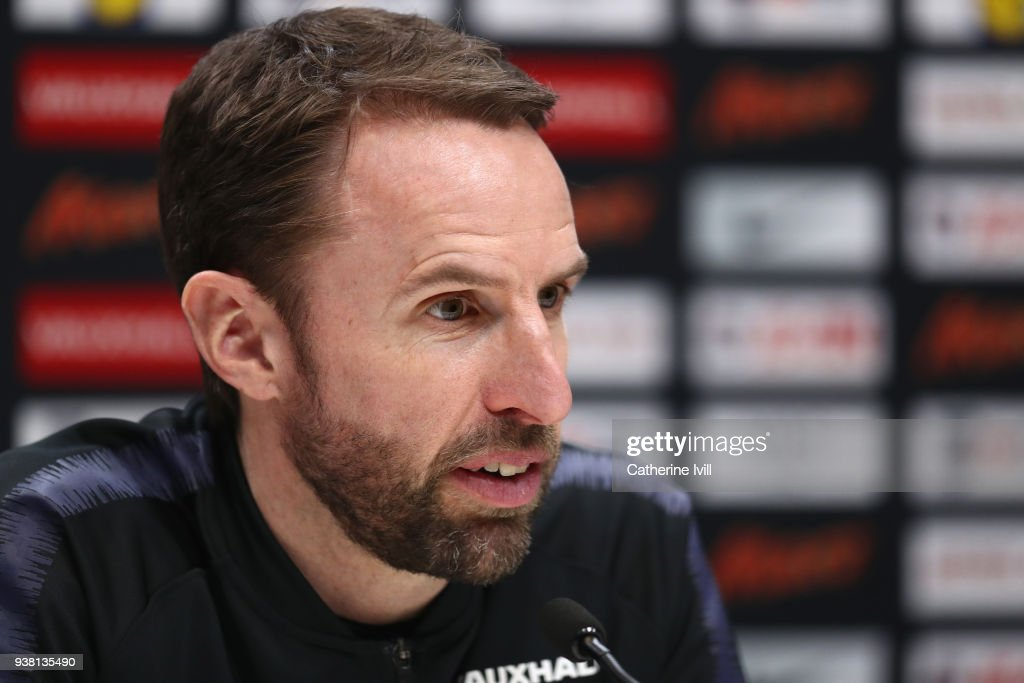 Gareth Southgate manager of England speaks during an England press conference on the eve of their international friendly against Italy at Tottenham Hotspur Training Centre, on March 26, 2018 in Enfield, England.