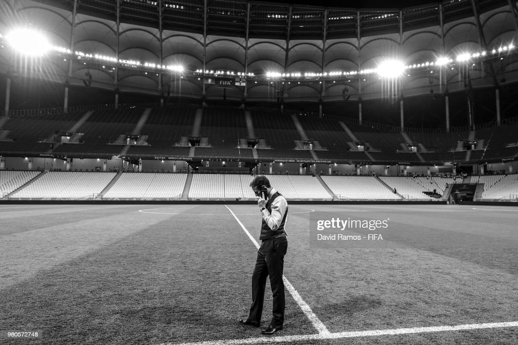 Gareth Southgate Manager of England speaks on his phone on the pitch at the end of the 2018 FIFA World Cup Russia group G match between Tunisia and England at Volgograd Arena on June 18, 2018 in Volgograd, Russia.