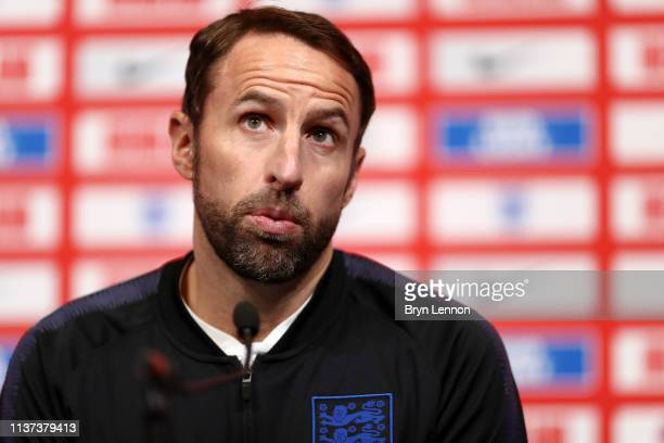 Gareth Southgate, Manager of England speaks to the media during an England press conference at St Georges Park on March 21, 2019 in...
