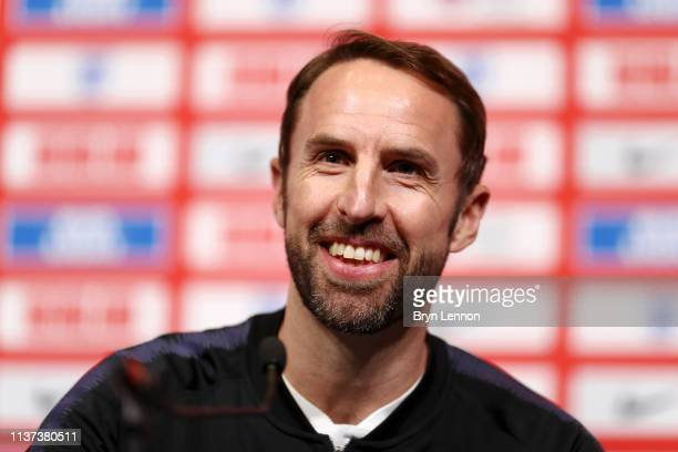 Gareth Southgate Manager of England speaks to the media during an England press conference at St Georges Park on March 21 2019 in BurtonuponTrent...